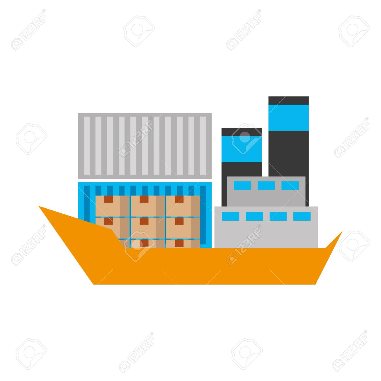 hight resolution of sea transportation logistic freight shipping cargo ship vector illustration stock vector 90305383