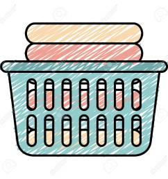 laundry basket with pile of folded clothes vector illustration design stock vector 90402898 [ 1300 x 1300 Pixel ]