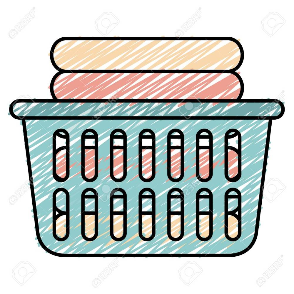 medium resolution of laundry basket with pile of folded clothes vector illustration design stock vector 90402898