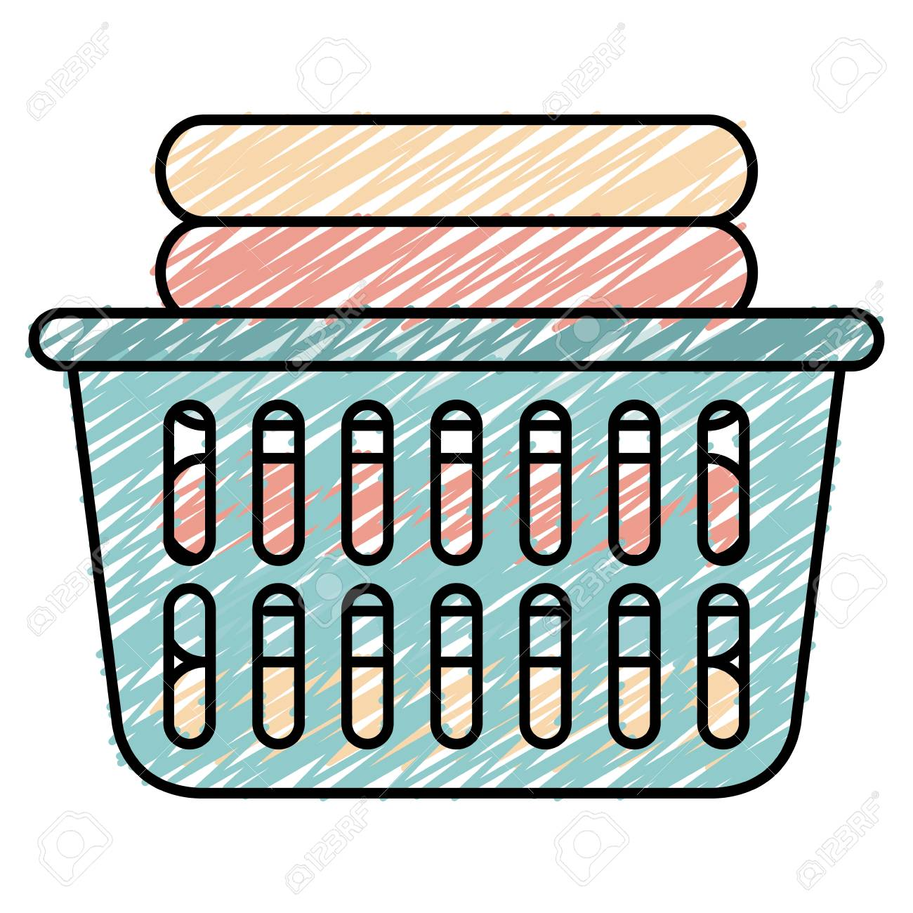 hight resolution of laundry basket with pile of folded clothes vector illustration design stock vector 90402898