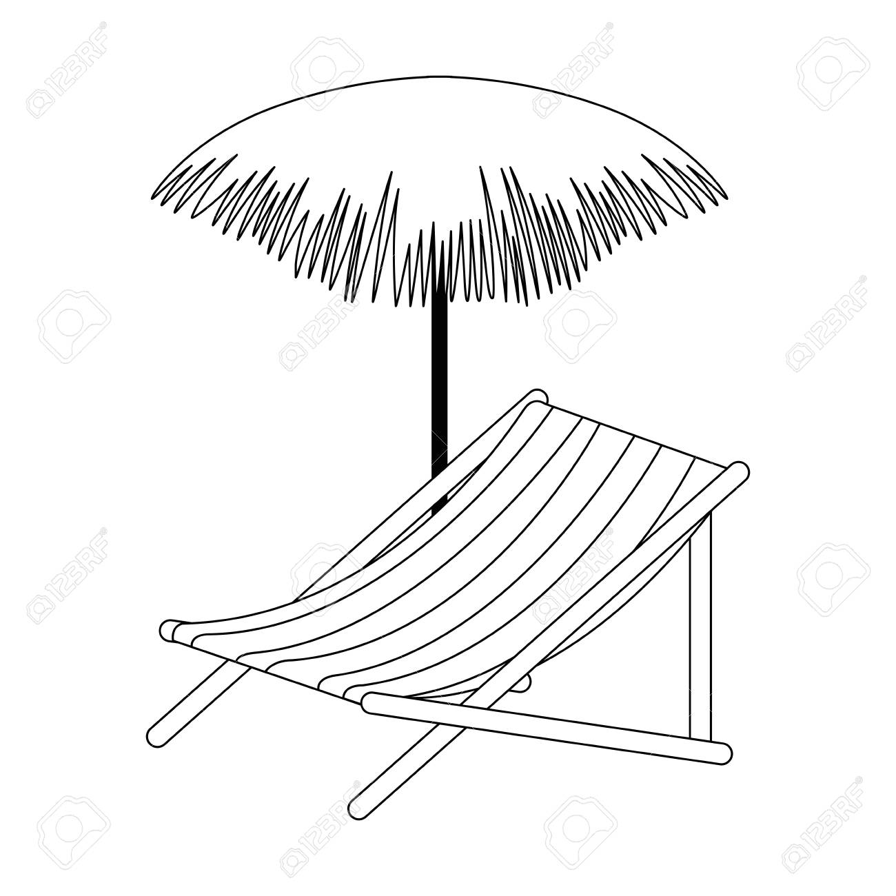 Chair With Umbrella Beach Chair With Palm Umbrella Vector Illustration Design