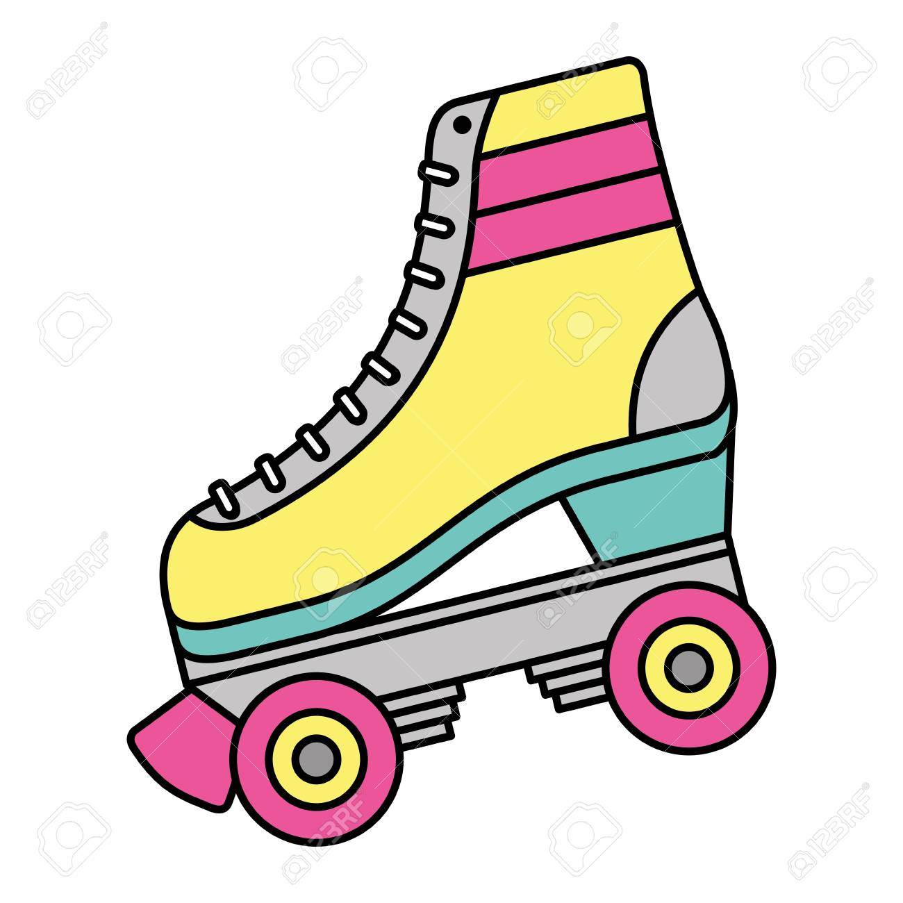 hight resolution of classic roller skate laced wheels retro fashion vector illustration stock vector 94420542