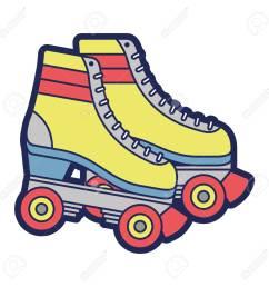 retro roller skates wheels trendy vintage vector illustration stock vector 94432160 [ 1300 x 1300 Pixel ]