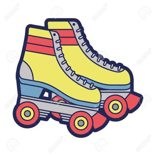 small resolution of retro roller skates wheels trendy vintage vector illustration stock vector 94432160