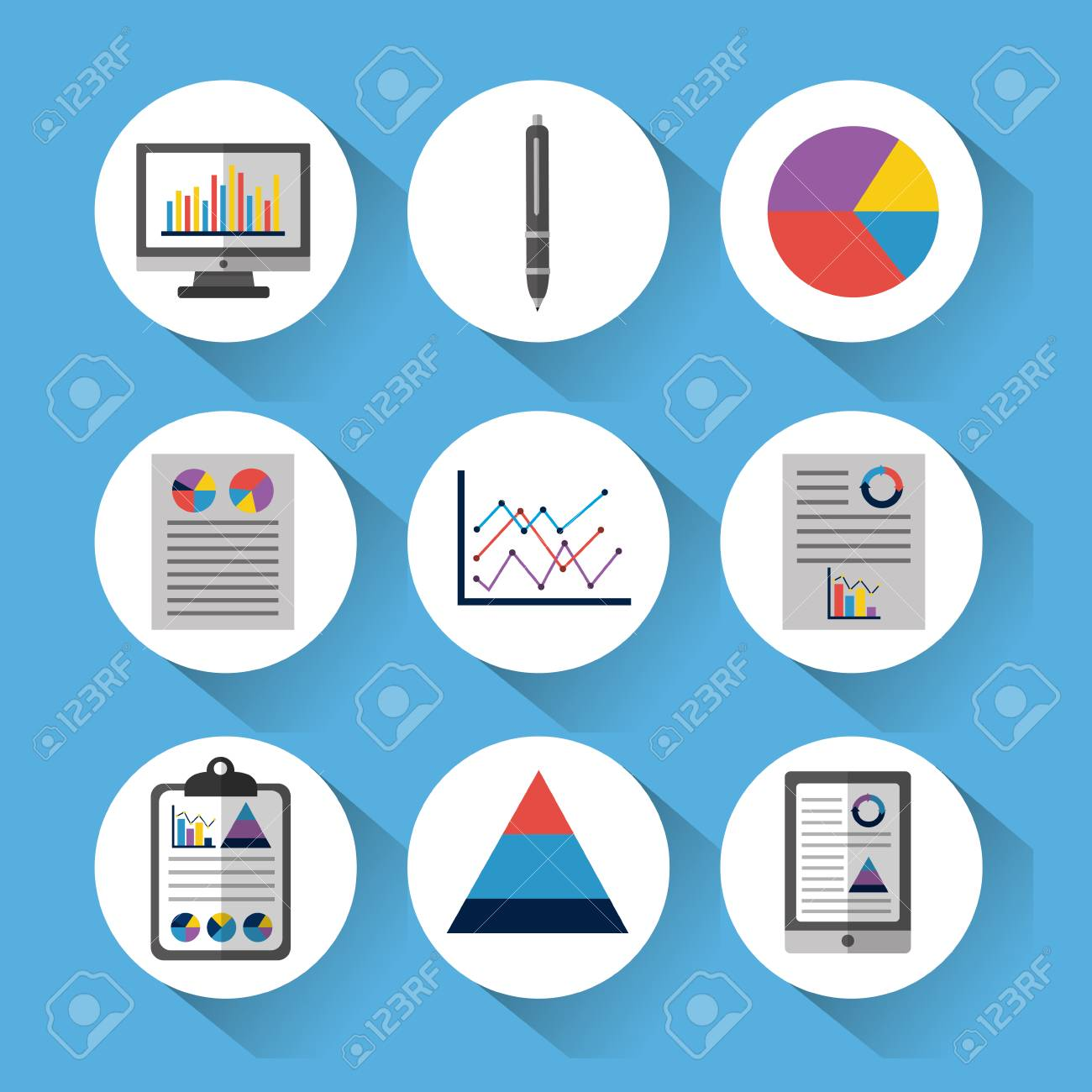 hight resolution of statistic data tools finance diagram and graphic chart business vector illustration stock vector 96901257
