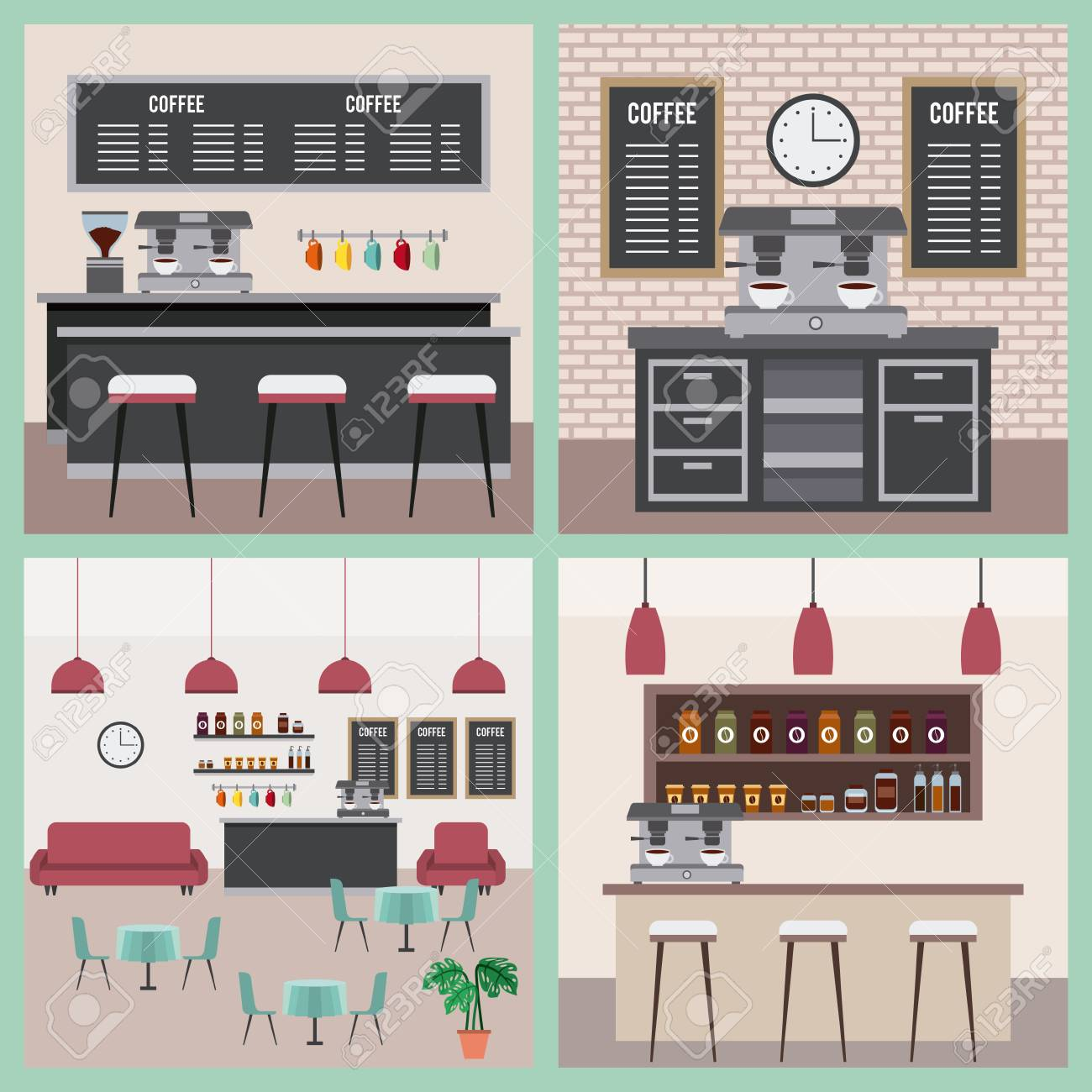 coffee shop interior space modern furnitures collection vector