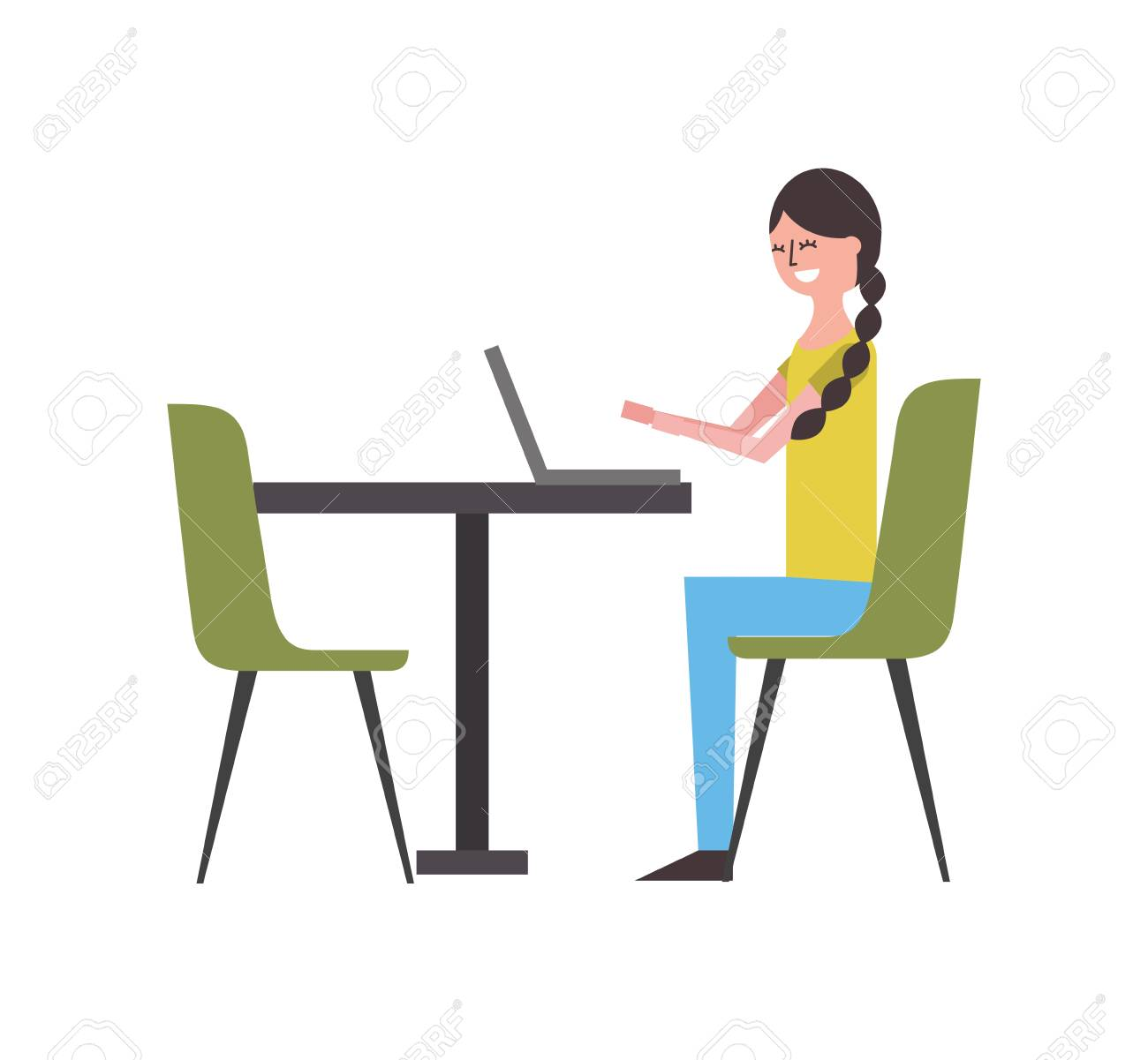 Cute Woman Sitting In The Chair Typing Laptop On Table Vector