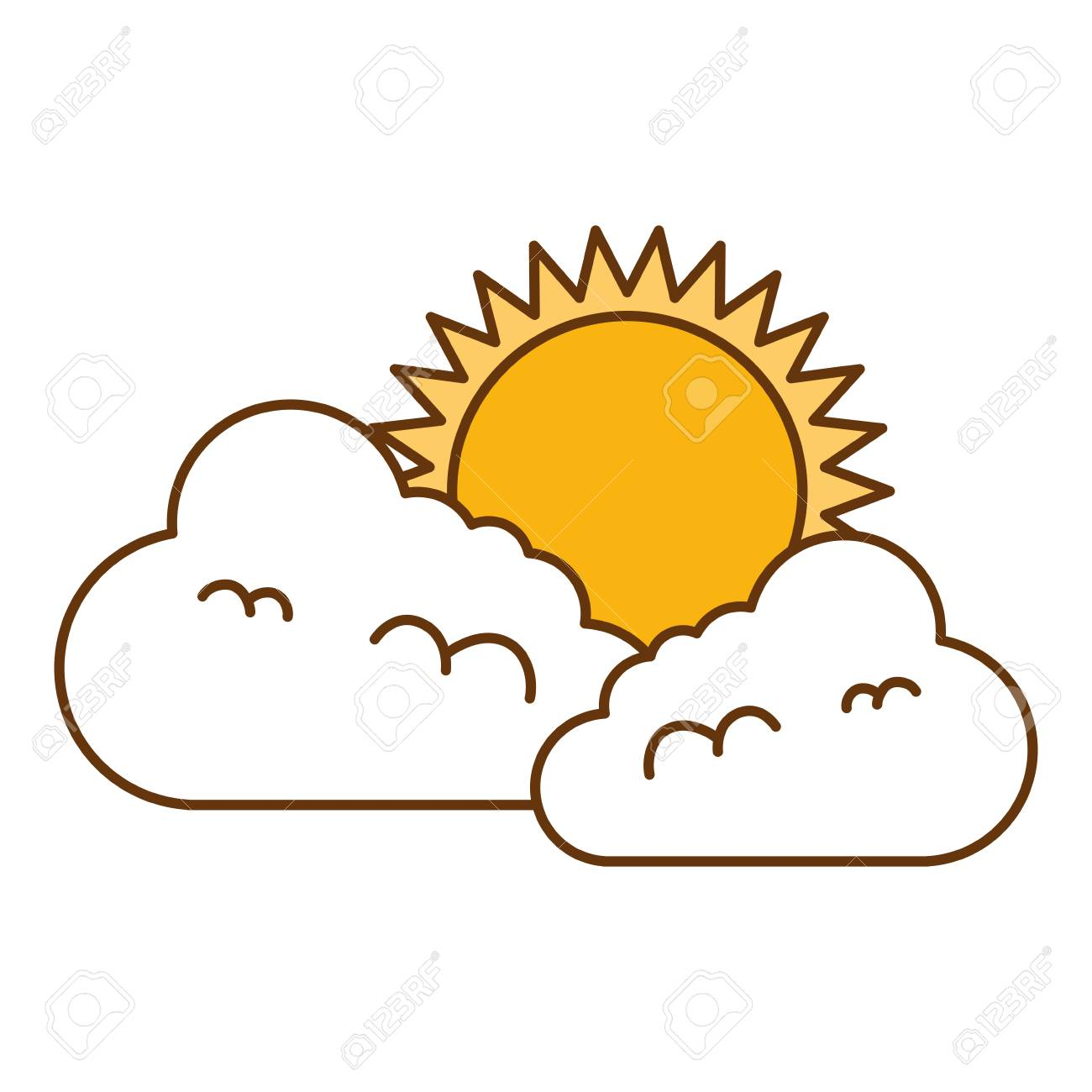 hight resolution of climate cloud with sun vector illustration design stock vector 99244003