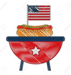 bbq grill with hot dog and american flag vector illustration stock vector 102020752 [ 1300 x 1300 Pixel ]