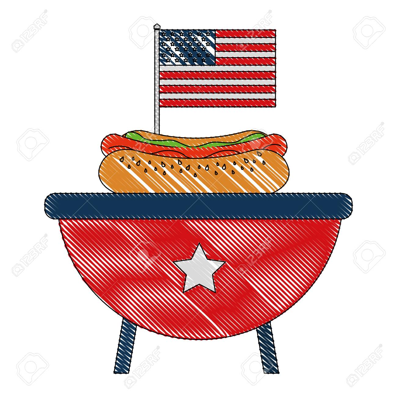 hight resolution of bbq grill with hot dog and american flag vector illustration stock vector 102020752