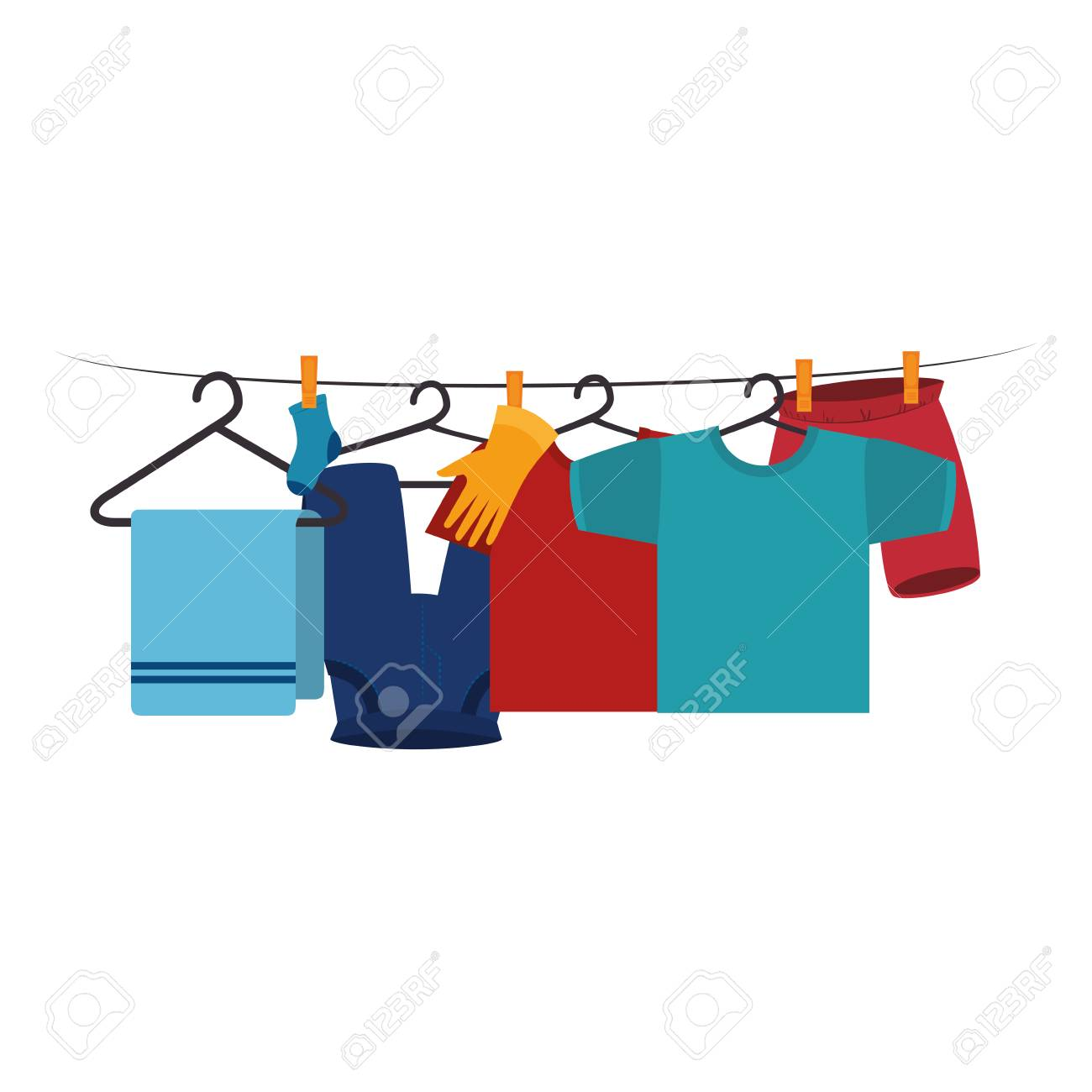 hight resolution of clothes drying on wire vector illustration design stock vector 104045907