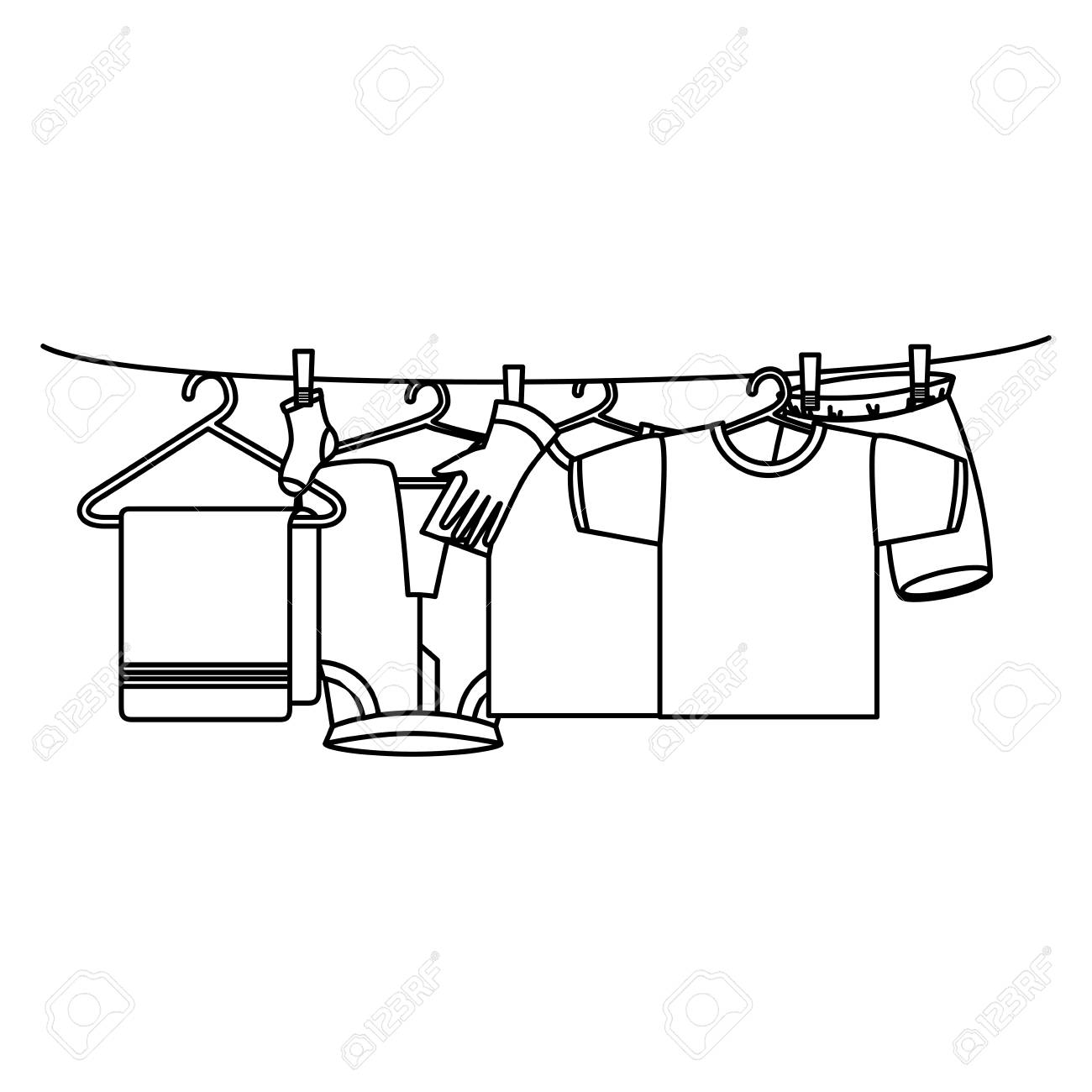 hight resolution of clothes drying on wire vector illustration design stock vector 104046534