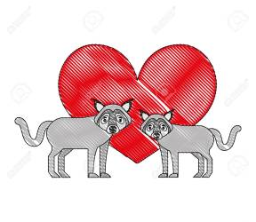 Cute Couple Wolf Animal In Love Heart Vector Illustration Royalty Free Cliparts Vectors And Stock Illustration Image 114995021