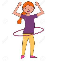 vector woman cartoon practicing with hula hoop vector illustration [ 1126 x 1300 Pixel ]