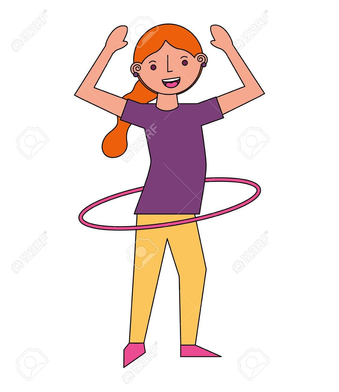 hight resolution of vector woman cartoon practicing with hula hoop vector illustration