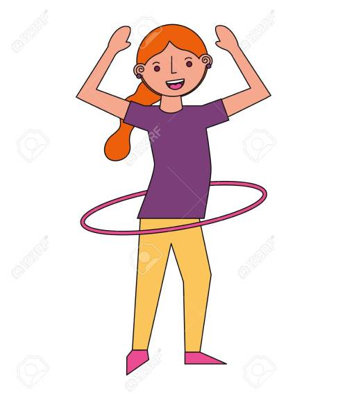 small resolution of vector woman cartoon practicing with hula hoop vector illustration