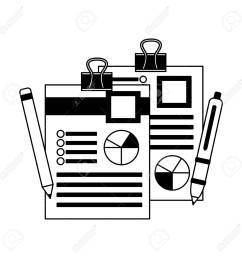 office paper diagram finance pen and pencil vector illustration monochrome stock vector 105561524 [ 1300 x 1300 Pixel ]