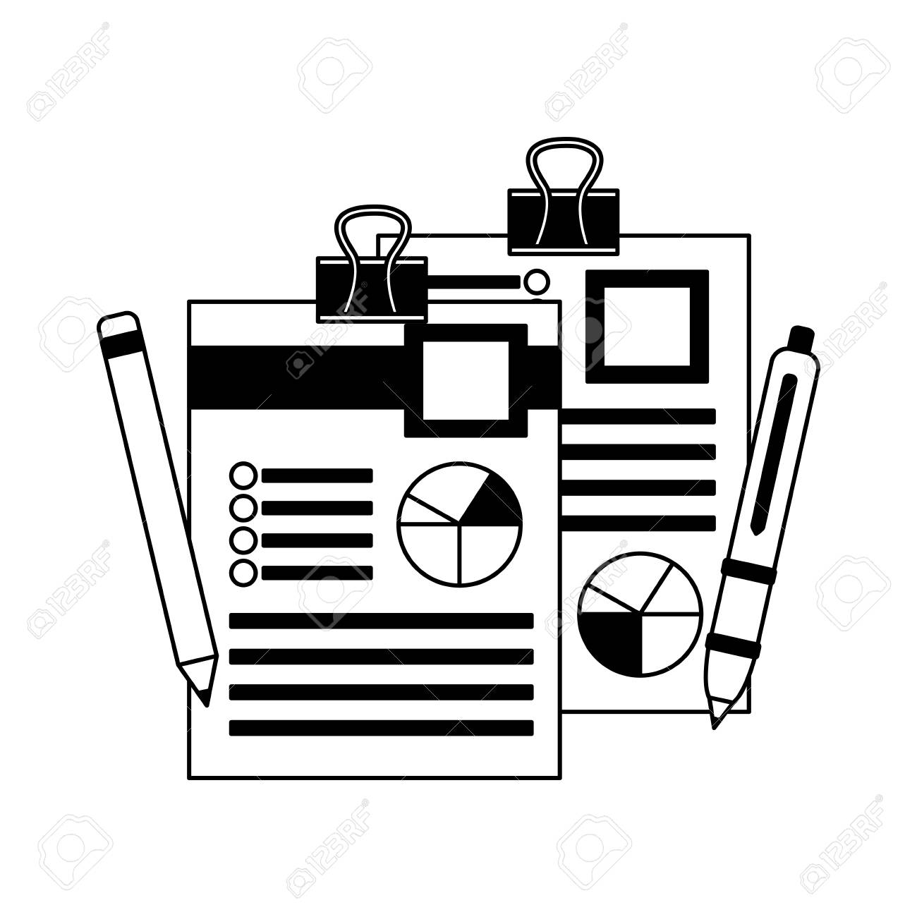 hight resolution of office paper diagram finance pen and pencil vector illustration monochrome stock vector 105561524