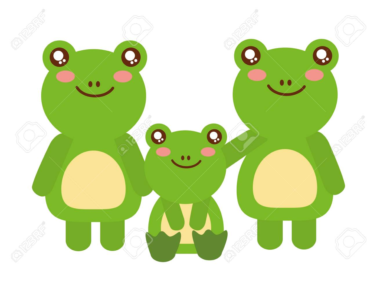 cute family frogs animals