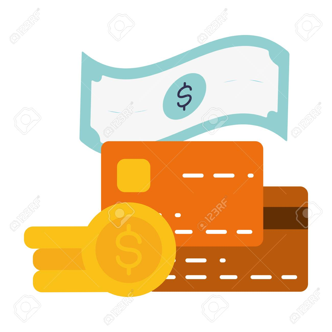 Bank Cards Money Online Banking Vector Illustration Royalty Free Cliparts Vectors And Stock Illustration Image 123057958