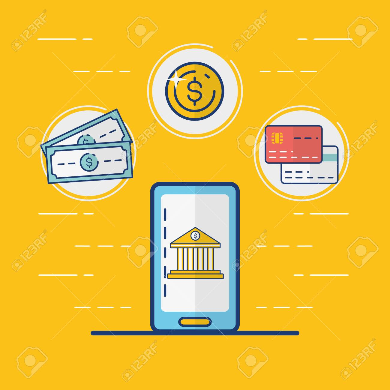 Mobile Bank Cards Money Online Payment Vector Illustration Royalty Free Cliparts Vectors And Stock Illustration Image 121507401