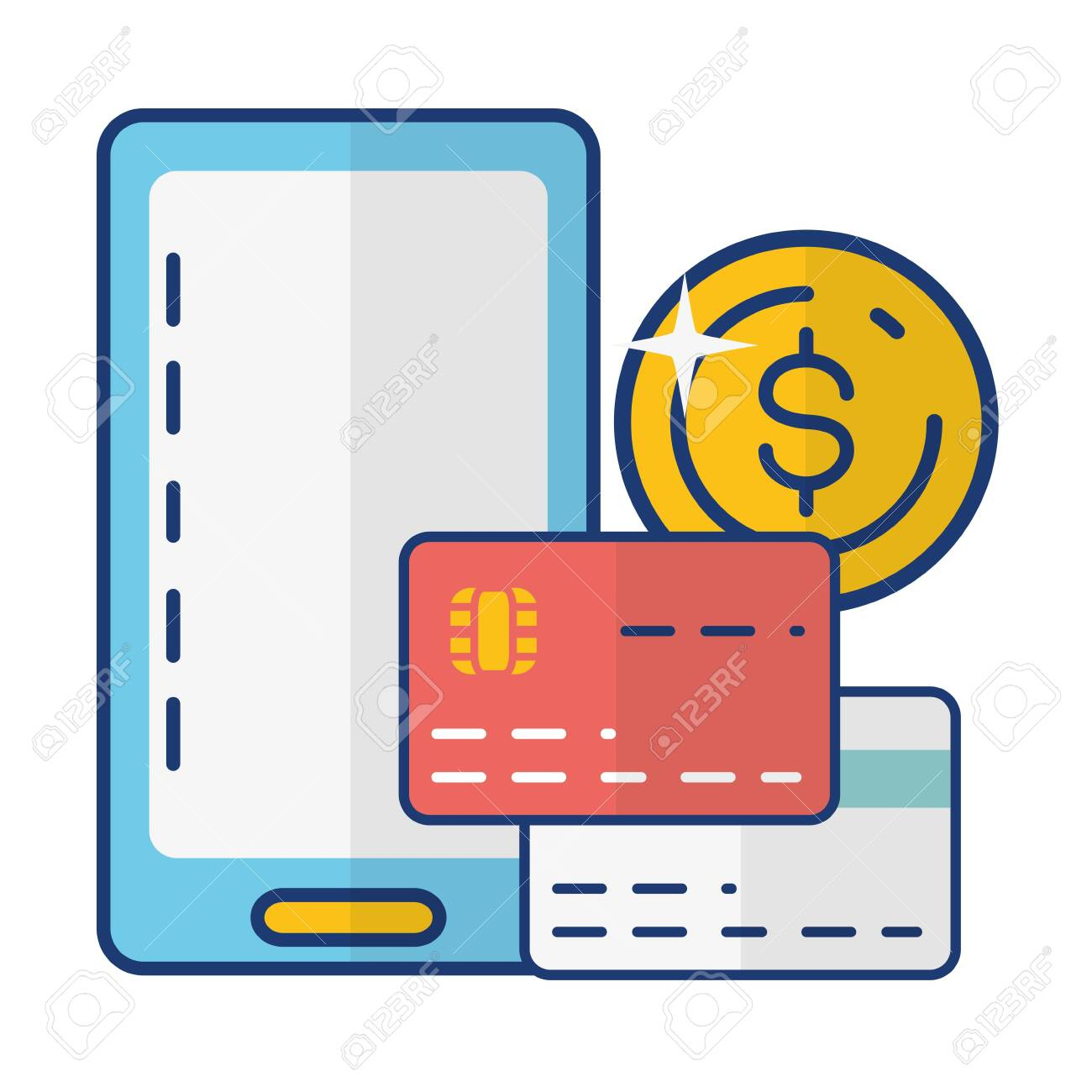 Smartphone Bank Cards Money Online Payment Vector Illustration Royalty Free Cliparts Vectors And Stock Illustration Image 128920538