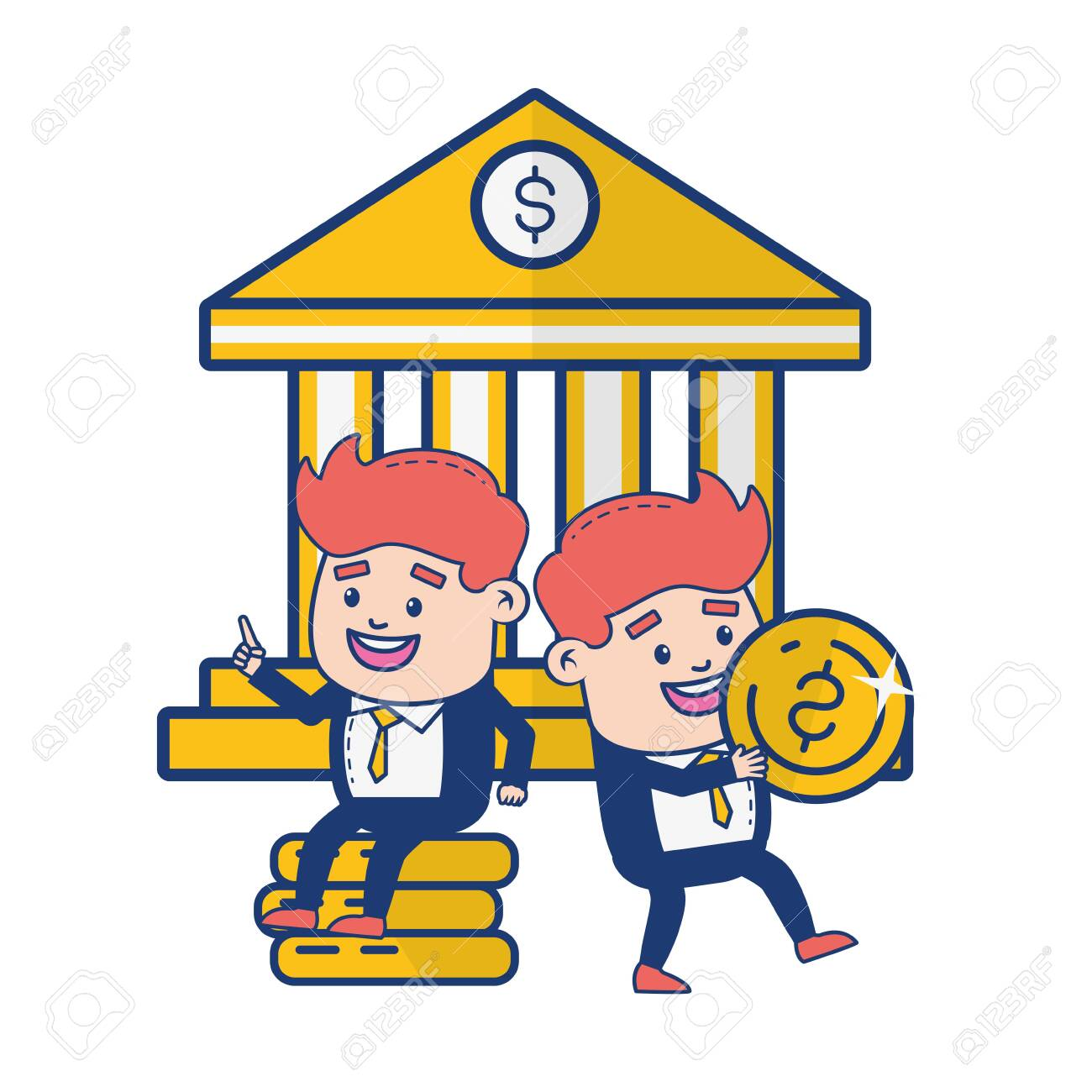 Businessmen Bank Money Online Banking Vector Illustration Royalty Free Cliparts Vectors And Stock Illustration Image 129477092