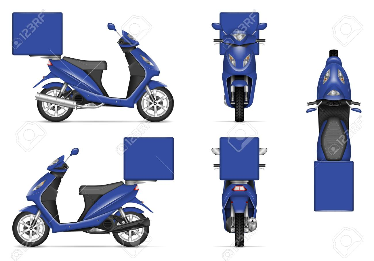 Get an amazing photorealistic free bike logo mock up in psd for absolutely free and apply it. Delivery Motorcycle Vector Mockup For Vehicle Branding Advertising Corporate Identity Isolated Template Of Realistic Blue Scooter On White Background All Elements In The Groups On Separate Layers Royalty Free Cliparts Vectors And