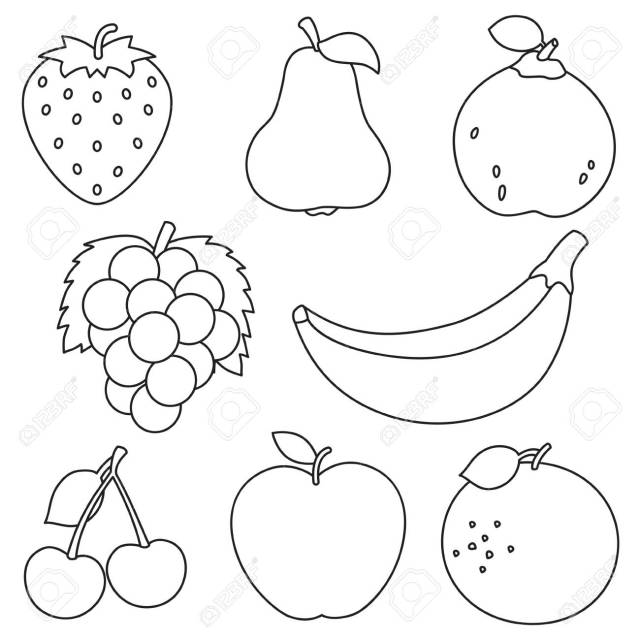 Vector Illustration Of Fruits Coloring Page Royalty Free Cliparts