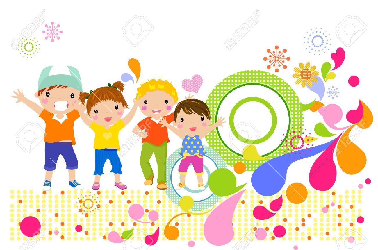 hight resolution of group of children having fun stock vector 19722647