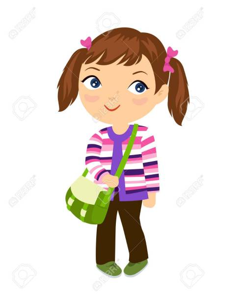 small resolution of cute student girl stock vector 46476740