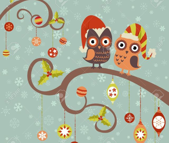 Cute Winter Christmas Card Of Owls In Hats Sitting On A Tree Branch With Ball Toys