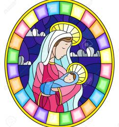 illustration in stained glass style on biblical theme jesus baby with mary abstract figures [ 1148 x 1300 Pixel ]