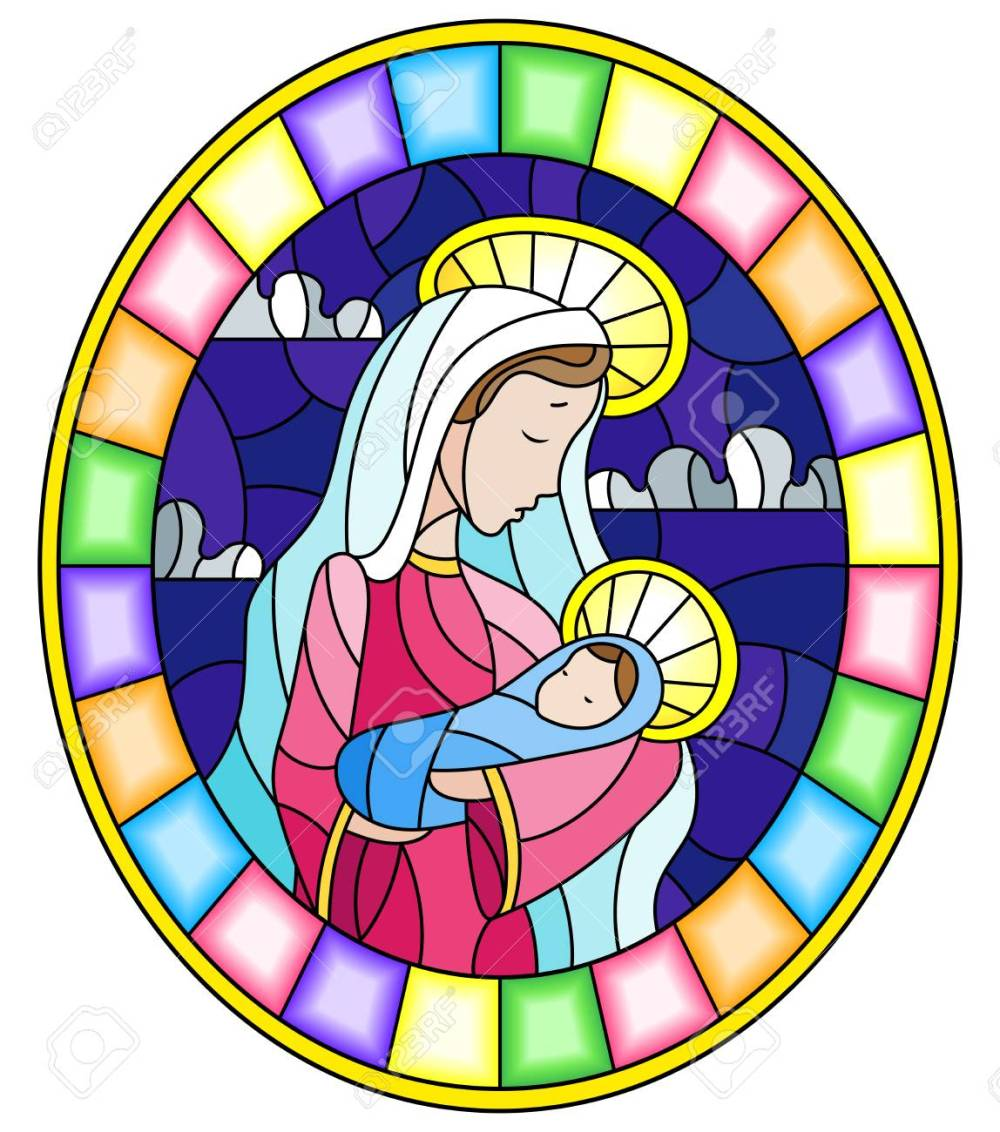 medium resolution of illustration in stained glass style on biblical theme jesus baby with mary abstract figures