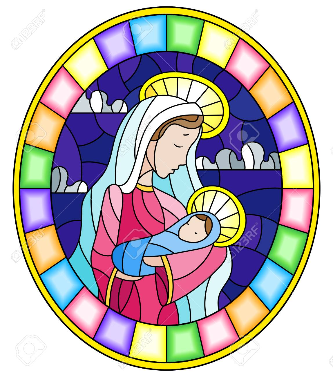hight resolution of illustration in stained glass style on biblical theme jesus baby with mary abstract figures