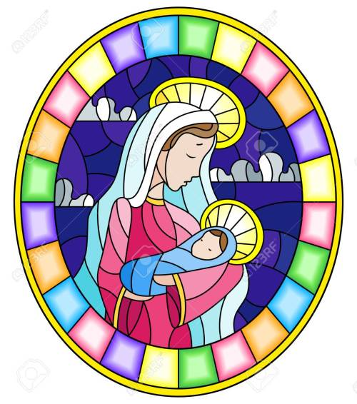small resolution of illustration in stained glass style on biblical theme jesus baby with mary abstract figures