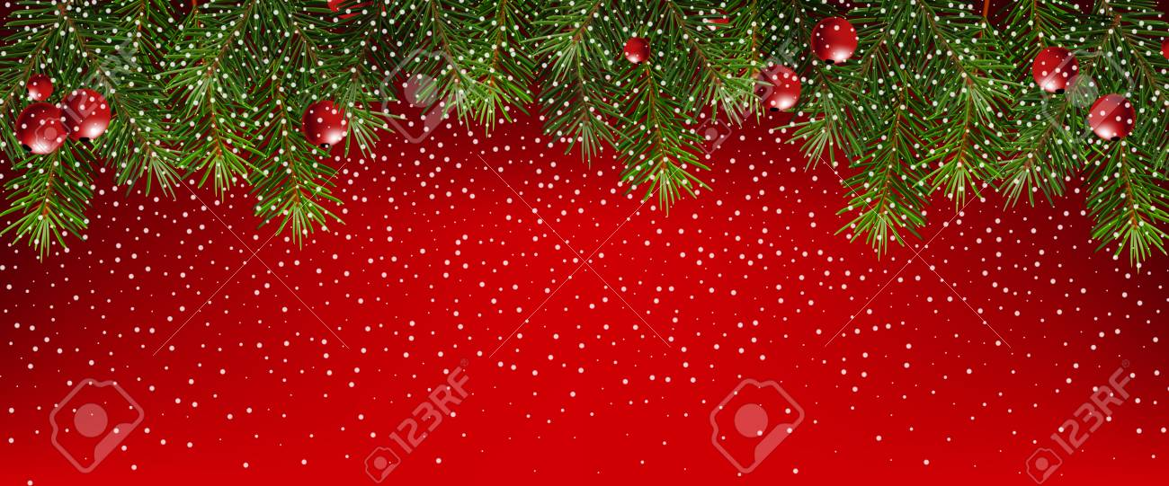 realistic fir branches on