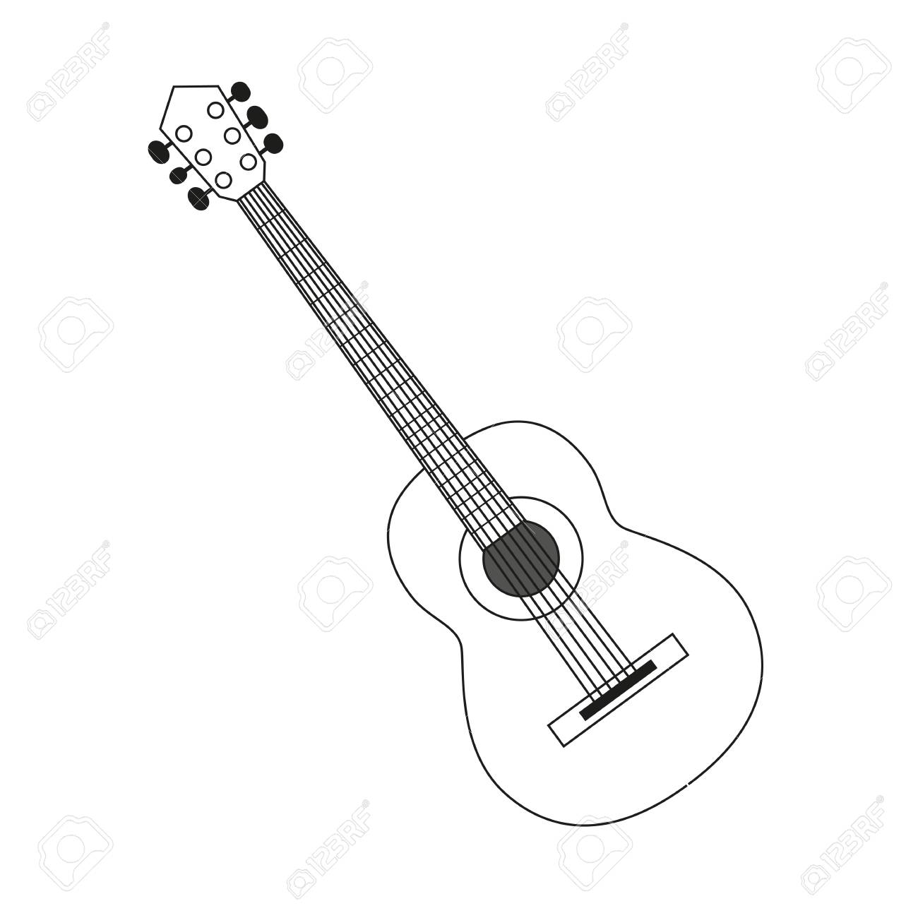 Illustration circuit outline of a guitar in black and white