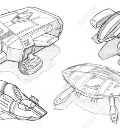 black and white pencil concept art drawing of set of futuristic or sci fi spaceships [ 1300 x 866 Pixel ]