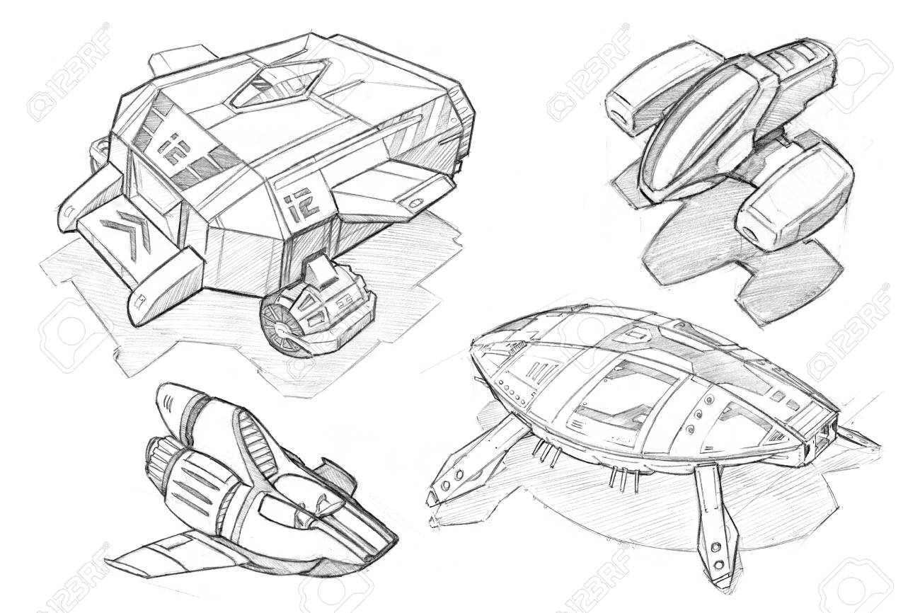 hight resolution of black and white pencil concept art drawing of set of futuristic or sci fi spaceships