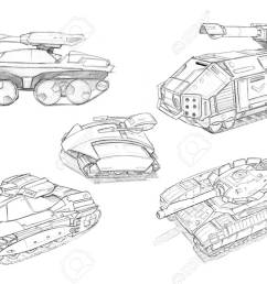 black and white rough pencil concept art drawing of set of sci fi future military [ 1300 x 898 Pixel ]