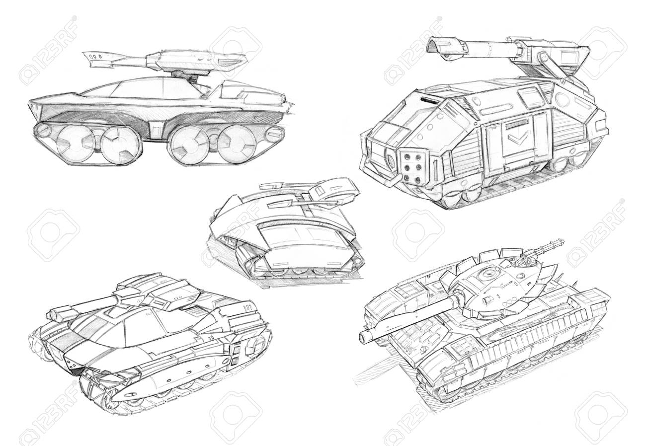 hight resolution of black and white rough pencil concept art drawing of set of sci fi future military