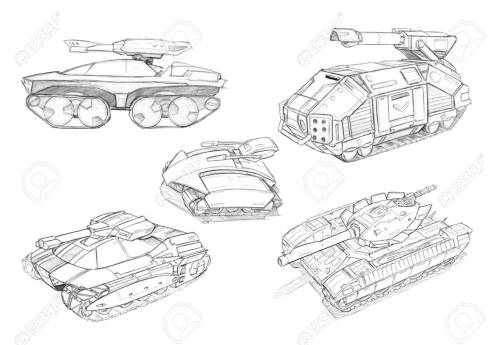 small resolution of black and white rough pencil concept art drawing of set of sci fi future military