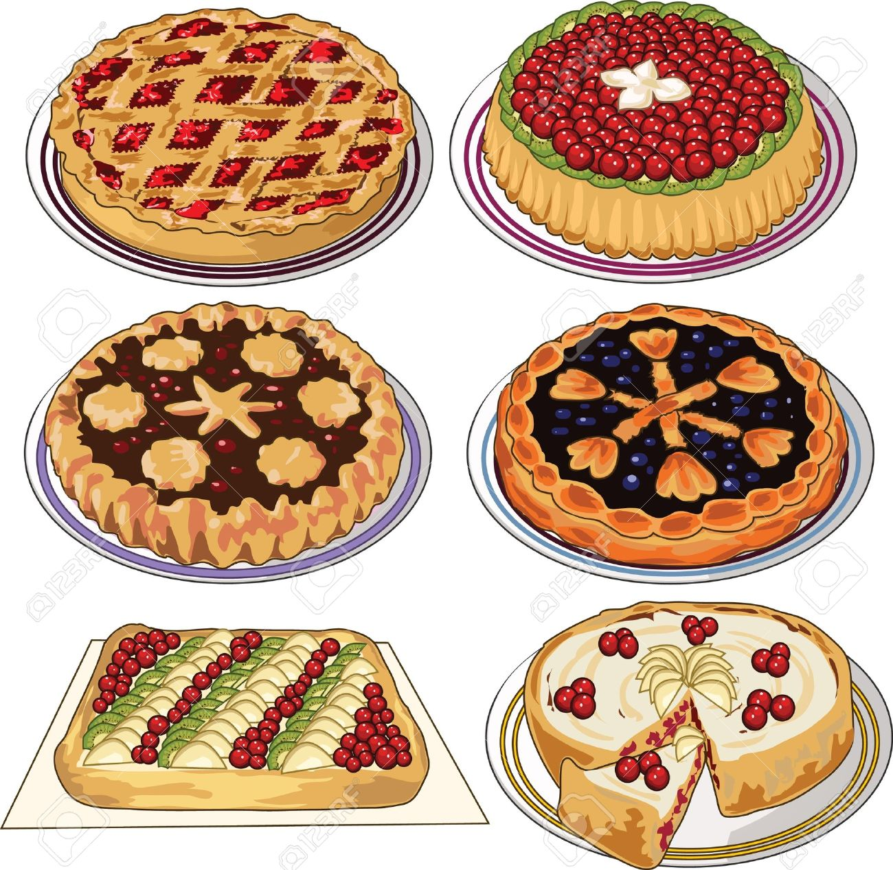 hight resolution of clip art set of homemade pies stock vector 11671553