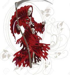 grim reaper in red cloak with scythe stock vector 14355504 [ 1163 x 1300 Pixel ]