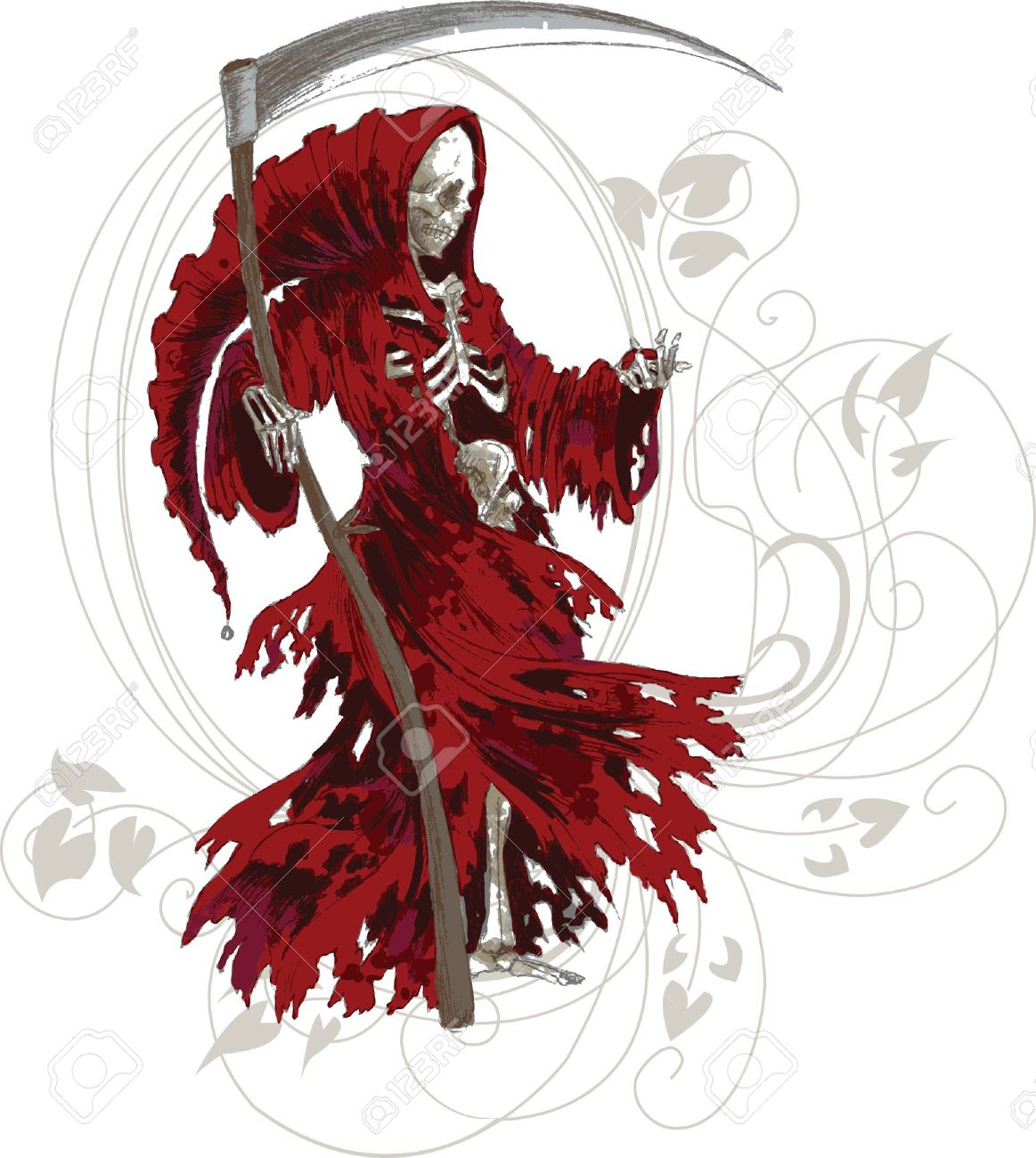 hight resolution of grim reaper in red cloak with scythe stock vector 14355504