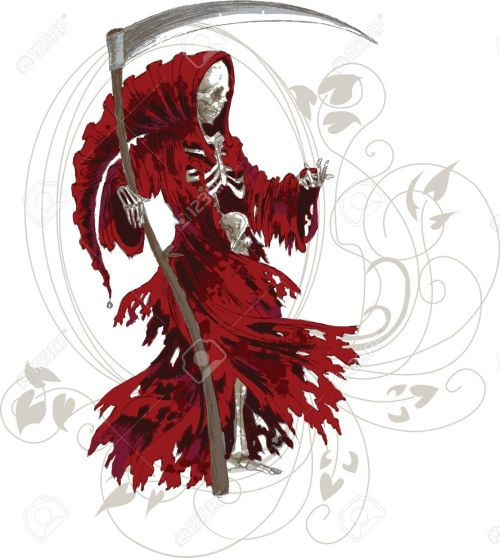 small resolution of grim reaper in red cloak with scythe stock vector 14355504