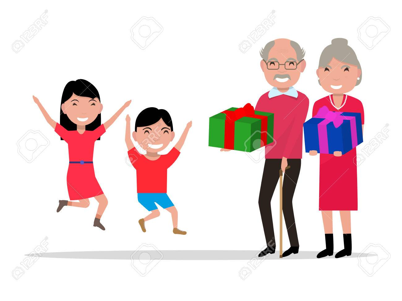 vector illustration cartoon grandparents