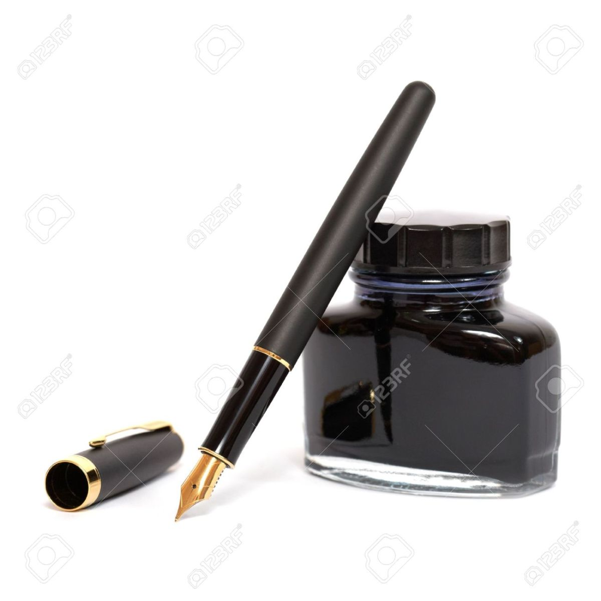 Fountain Pen With Ink Bottle Stock Photo, Picture And Royalty Free Image.  Image 8931763.