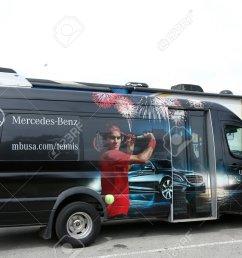 flushing ny september 9 mercedes benz bus at national tennis center during us [ 1300 x 866 Pixel ]